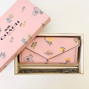Coach Boxed Envelope Wallet Chain Dandelion Floral